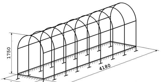 Теплица арочная 1.75 х 1.56 х 4.18 м Арт. 015
