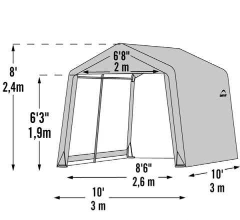 Тентовый сарай Shelter Logic 3х3х2.4 м