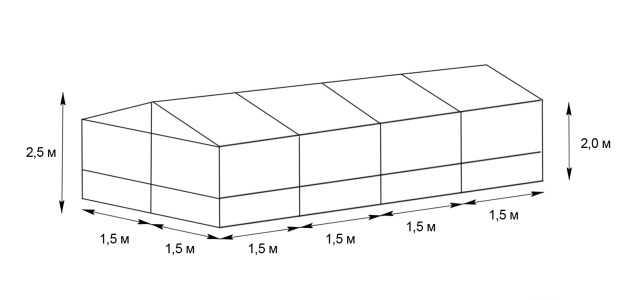 Практичный классический каркас для теплицы 3х6м