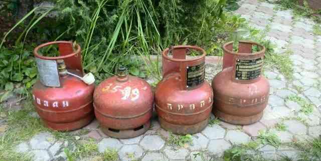 Газовые баллоны по 5 л. (4 штуки)