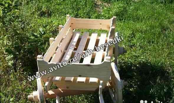 Телега деревянная Арт N1533, тележка садовая