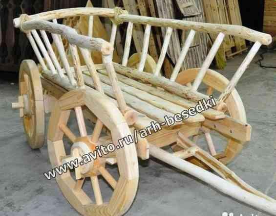 Телега, телега из дерева, декоративная тележка
